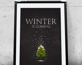 Winter Is Coming, Printable Poster, Winter Tree, Wall Art, Illustration