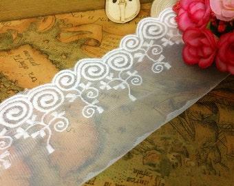 Wave plate sugar lace trim ,white lace  ribbon ,DIY handmade trim