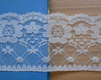 IVoRY Lace Trim FLaT 2.36 inch ~ IVORY FLoRaL~ sold by yard~ wedding invitations sewing crafts