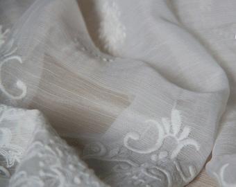 """Beautiful  Summer Chiffon Fabric - 51""""width White Embroidery Chiffon - 100% fine silk chiffon fabric for Dresses/blouses/skirts/Scarf"""