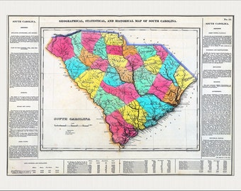 SOUTH CAROLINA Map, Map of South Carolina, South Carolina, Charleston, USA Map, Vintage Map,  Historic Map 1822