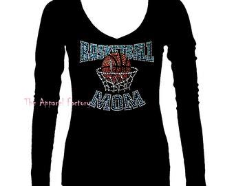 New Junior Rhinestone basketball mom V neck long sleeve t shirt S-3XL bling bling gift