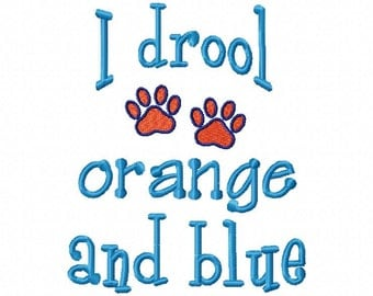 I drool orange and blue paw print design download 5x7 size only