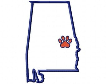 State of Alabama Auburn paw print design applique download - 5x7 size