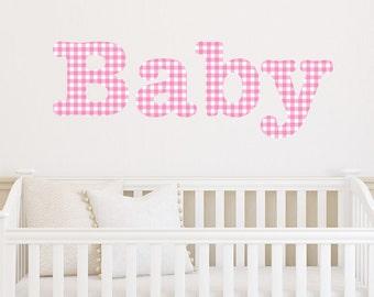 Baby Wall Sticker Girl's Patterned Gingham Transfer Decal Art Vinyl Bedroom Nursery Playroom