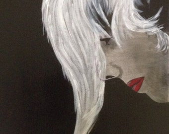 """16""""x20"""" Abstract Black and White Painting of Woman with Red Lips #17"""