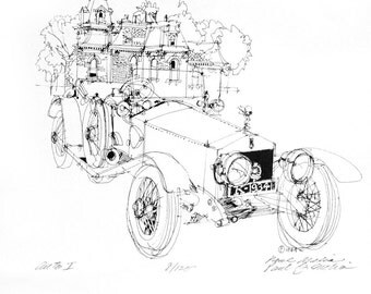 NO. L-7  Auto 1 Antique Car Drawing Print, Pen and Ink Line drawing Automobile 1934