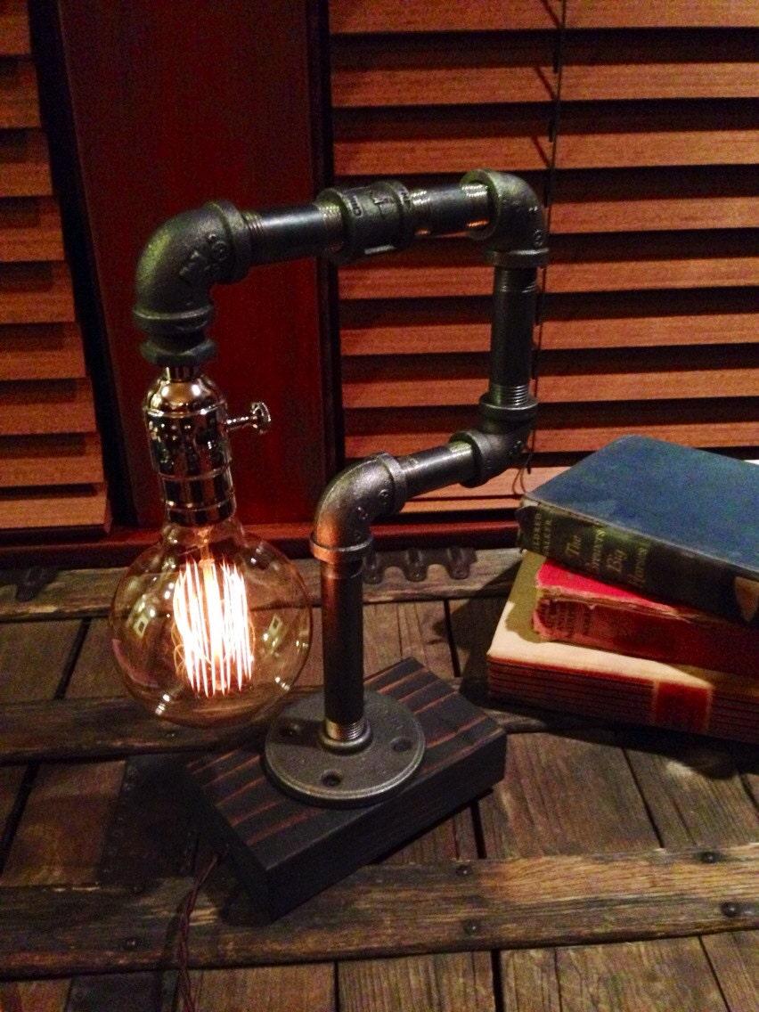Edison Light Metal Desk Lamp Reclaimed Wood Base Bulb