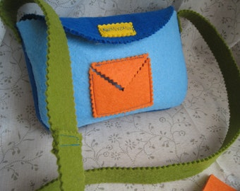Postman BAG felt with felt to fill out postcards and stamp-handmade