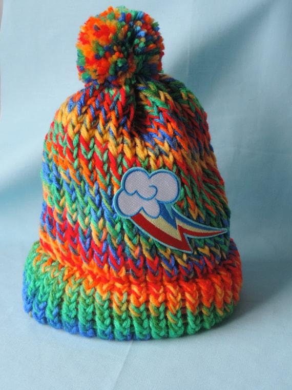 Rainbow Loom Knitting Patterns : Items similar to My Little Pony Rainbow Dash Cutie Mark Loom Knit Beanie Hat ...