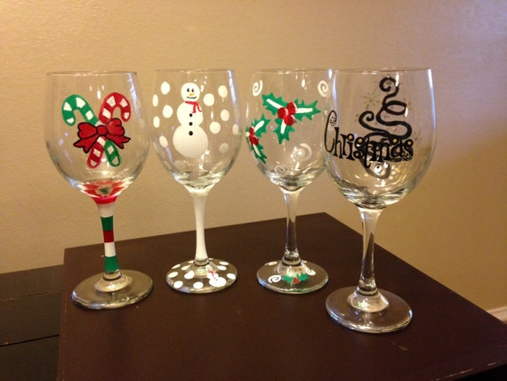 Items similar to christmas wine glasses on etsy for Holiday stemware