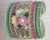Beaded Cuff, Beaded Leather Bracelet, PASTEL Bracelet, Leather Wrap Bracelet, Wide Beaded Cuff, Pink Bracelet, Summer Bracelet, OOAK Gift