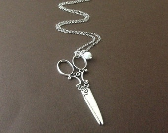 Vintage Style Silver Scissor Necklace