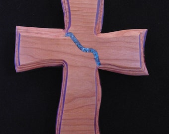Wood Cross Turquoise Inlay Carved Oak Home Decor Church