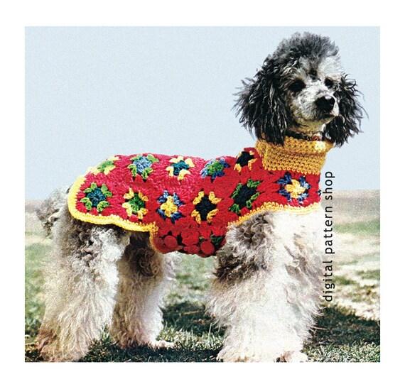 Crochet Dog Sweater Pattern- Granny Square Dog Coat Crochet Pattern ...