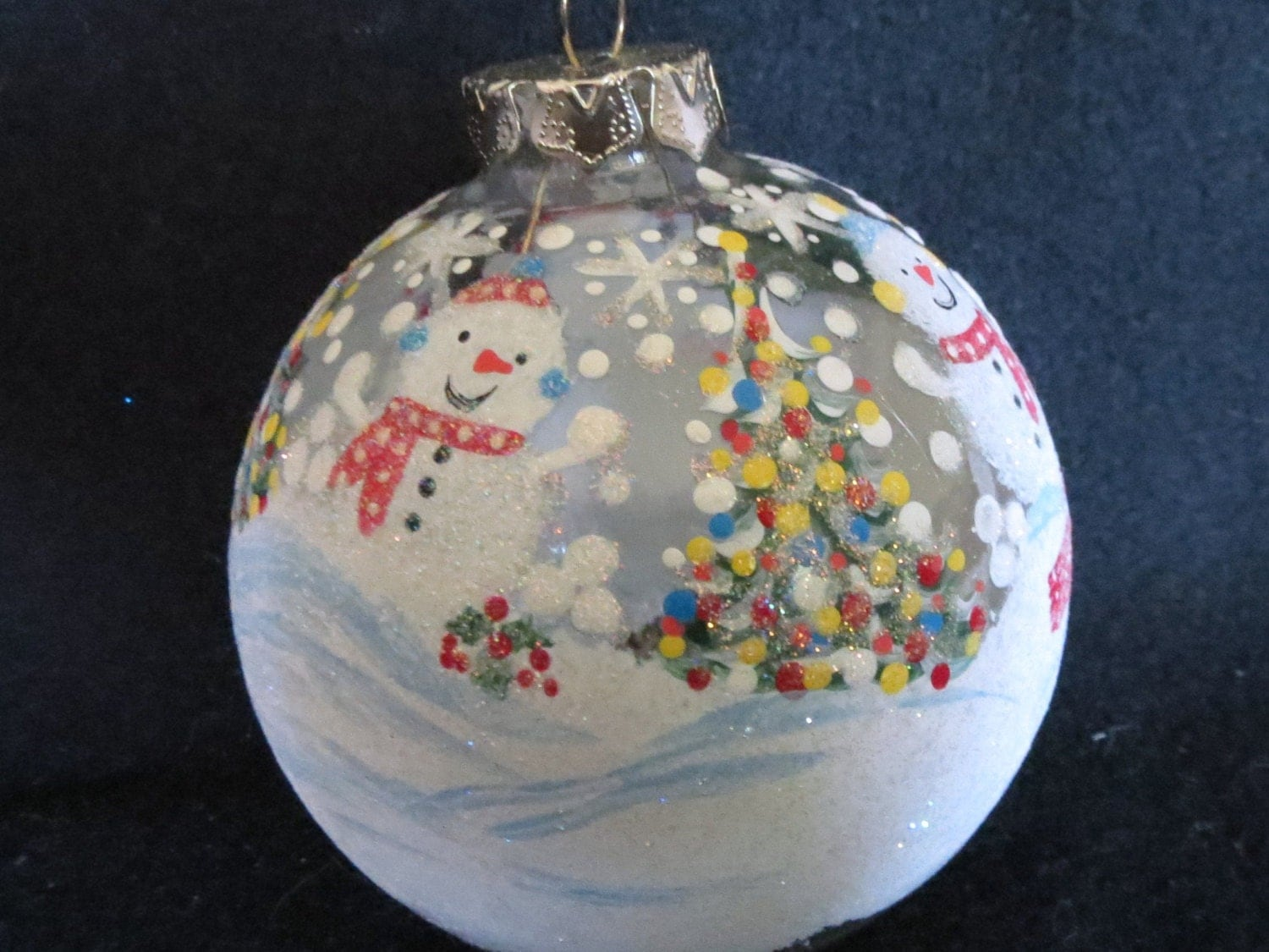 Clear hand painted glass christmas ornament by mysparklythings for Glass christmas ornaments to paint