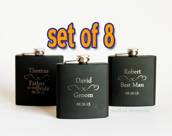 Engraved flasks, 8 Black Engraved Flasks 6oz for Groom, Best Man, Groomsmen, father of the bride, Hip Flask SET OF 8 - CLASSIC
