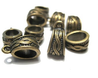 Antique Bronze Bails Infinity Symbol Pattern Carved 14x7mm metal Beads (No.998)