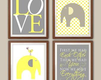Nursery Art Print - Chevron Nursery - Nursery Quote - Elephant Nursery Decor - Gray And Yellow Nursery Art - Set Of Four Prints