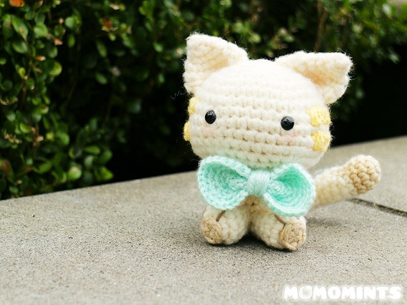 Amigurumi Cat Toy : Amigurumi Cat with Bow Tie Stuffed Toy by momomints on Etsy