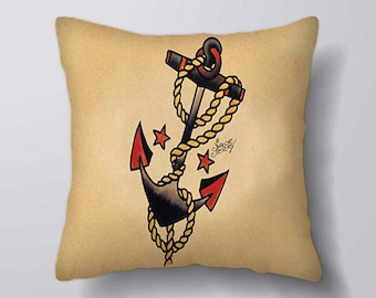 Anchor Sailor Jerry - Cushion Fabric Panel Or Case or with Filling