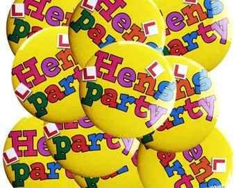 Hens Party Badge - Yellow - 10 Pack