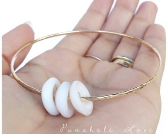 Puka Shell Bangle - 14 gauge, 14k gold filled or sterling silver