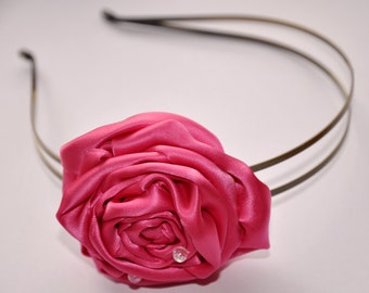 Pink Satin Rose Headband