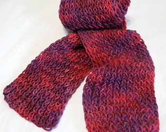 Superwash Wool Scarf  in regal reds and purples