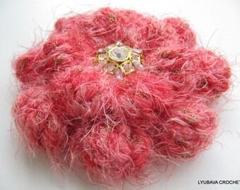 RED CROCHET BROOCH, Flower Crochet Brooch, Crochet Jewelry, Beautiful Brooch Flower, Christmas Gift Idea For Her, Unique Hand Crochet Item