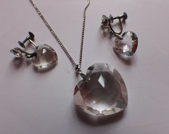 Necklace with Heart shaped Pendant and earring set