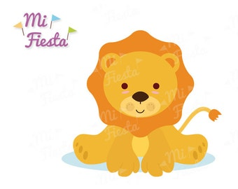 Cute baby lion kawaii style / Clipart for birthdays or baby showers / Instant digital download kawaii