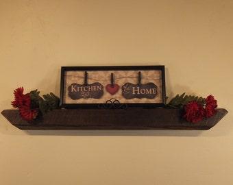 """850 - 41""""W x 3.75""""D x 4""""H Antique reclaimed floating wood shelf/mantel, Cedar, chocolate, mocha"""