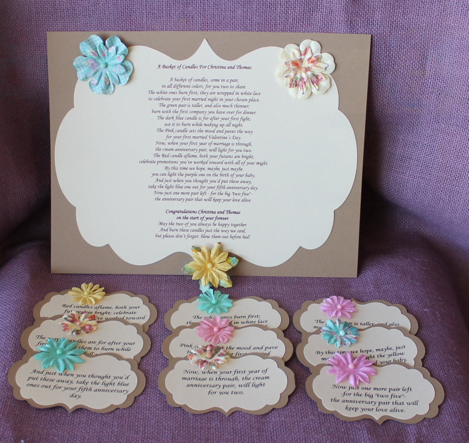 Wedding Gift Candles: Wedding Shower Candle Poem Tag Set Brown. Bridal Candle