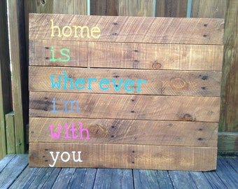 Reclaimed wood art with inspirational quote