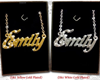 Name Necklace Emily - 18K Gold Plated, Czech Rhinestones