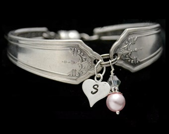 Vintage Silverware Bracelet with Sterling Silver Heart Charm, Spoon Bracelet, Initial Charm, Bridesmaid Jewelry