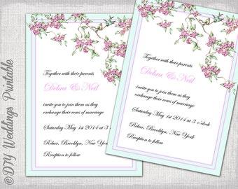 Love Bird Wedding Invitation Template Spring Garden Pink Blue Birds Invitations