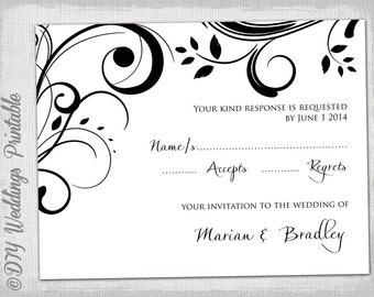 rsvp template download diy black and white scroll response card digital wedding printable. Black Bedroom Furniture Sets. Home Design Ideas