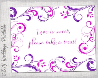 Wedding Sign Template DIY Pink U0026 Purple   Microsoft Word Sign Template
