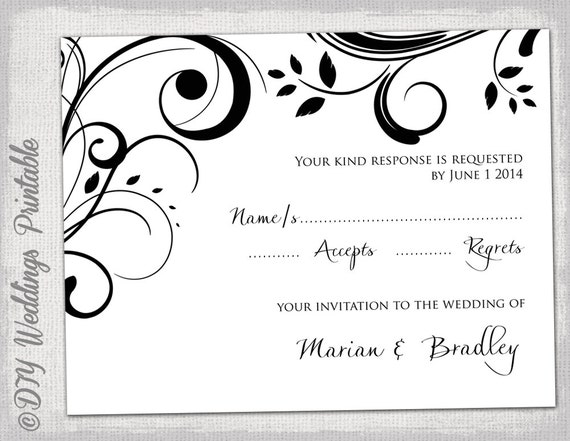 Rsvp template download diy black and white scroll for Rsvp cards for weddings templates