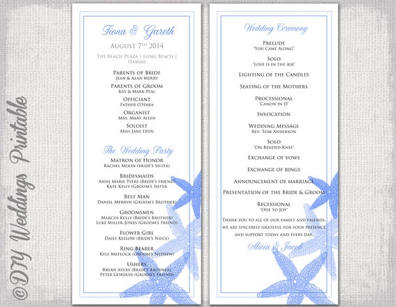 beach wedding program template blue starfish