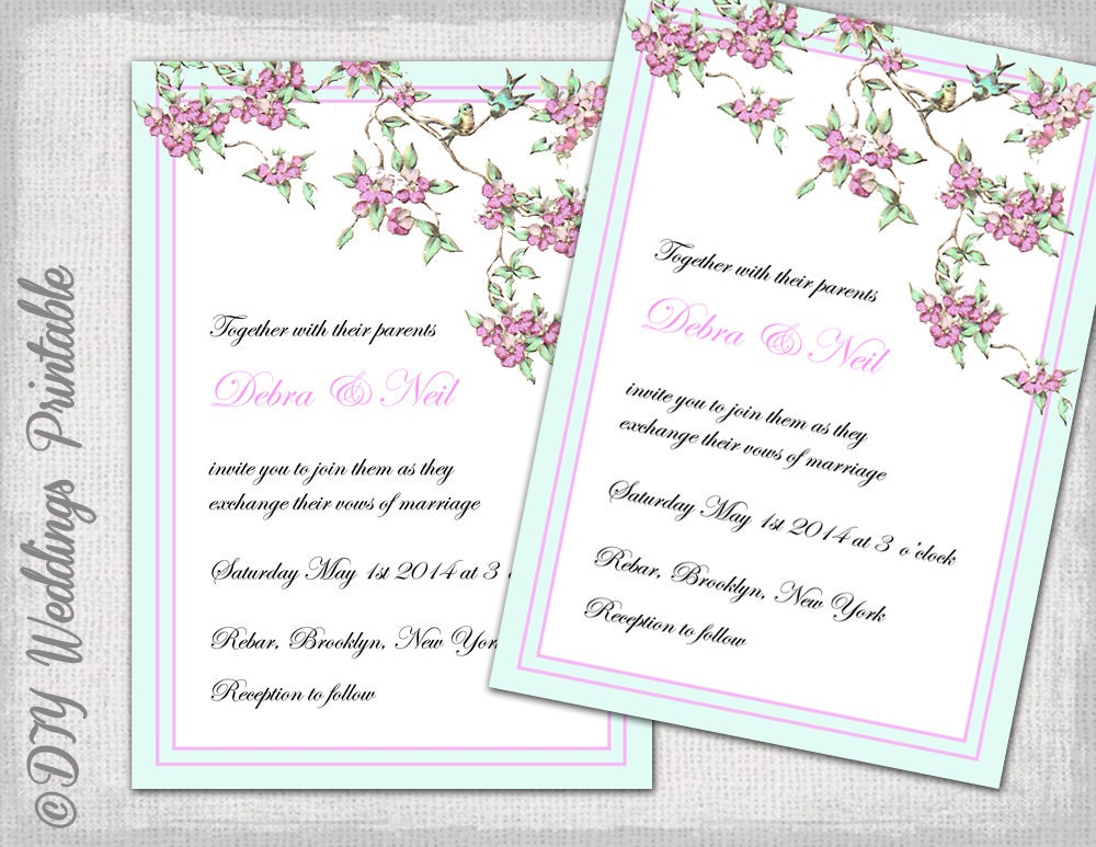 Bird Wedding Invitation: Love Bird Wedding Invitation Template Spring