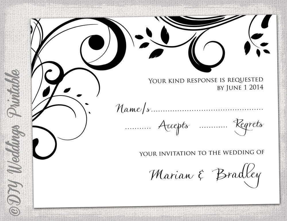 RSVP template download DIY Black and white Scroll – Free Wedding Rsvp Card Templates