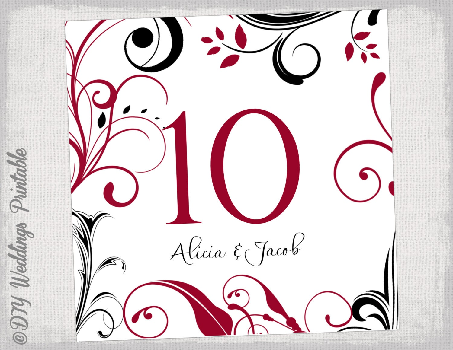table number template diy apple red and black. Black Bedroom Furniture Sets. Home Design Ideas