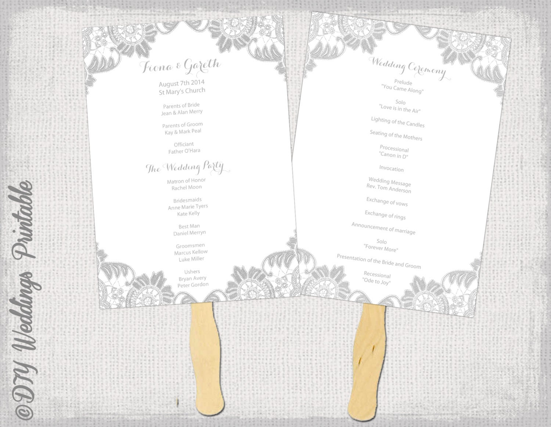 Wedding fan program template antique lace gray diy for Fan wedding programs templates