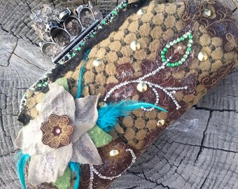 SOLD Brown Victorian Skull Brass Knuckle Clutch Purse With Green and Diamond Rhinestones Teal Feathers Handmade Flower Handbag