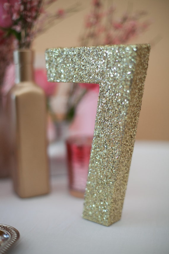 Items similar to individual glittered wedding table for Glitter numbers for centerpieces