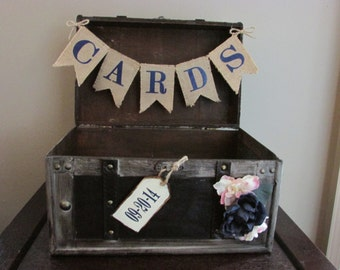 Rustic Wedding Card Holder w/ Navy Blue Burlap Card Banner and date tag Wedding Card Trunk Country Wedding Decoration with Navy and Pink B1B