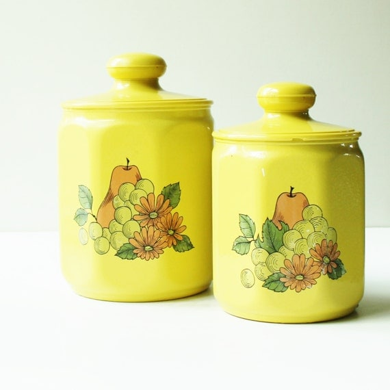Items Similar To Retro Yellow Kromex Kitchen Canisters